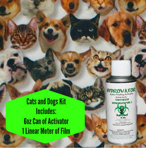 HYDROGRAPHIC FILM WATER TRANSFER HYDRO DIP 6OZ. ACTIVATOR CATS & DOGS KIT
