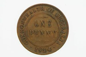 1924-Penny-Variety-Barb-Arrow-Shaped-Cud-Error-in-Very-Good-Condition