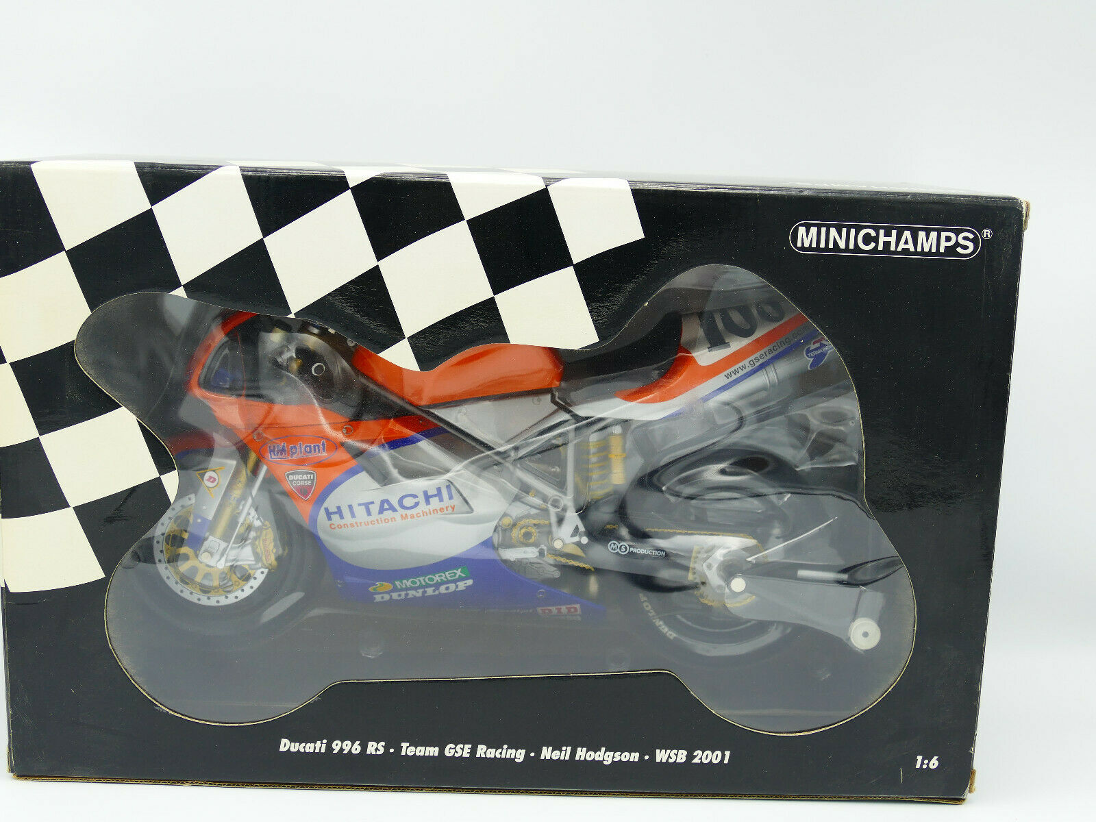 MINICHAMPS DUCATI 996 RS TEAM GSE Neil Hodgson WSB 2001-New échelle 1 6