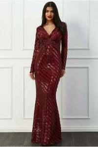 RED-Wine-Mermaid-FloorLength-Sequined-WEDDING-Evening-Dress-Gown-RP-120