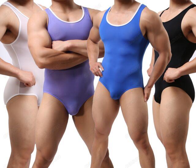 Sexy Men's Soft Body Shaping Freestyle Wrestling Singlet Leotard Smooth Bodysuit