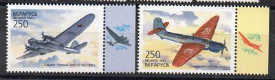 Belarus Sukhoy Reinweiß Und LichtdurchläSsig Flugzeuge 2001 Airplanes Erfinderisch Briefmarken