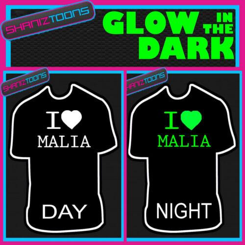 I LOVE HEART MALIA GLOW IN THE DARK PRINTED TSHIRT