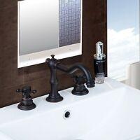 "New Roman 8""Widespread Oil Rubbed Bronze Waterfall Bathroom Sink Faucet"