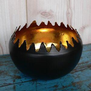 windlicht flamme schwarz gold metall teelichthalter gro sph renlicht laterne ebay. Black Bedroom Furniture Sets. Home Design Ideas