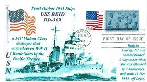 Uss-Reid-DD-369-Pearl-Harbor-1941-Blu-Foto-Cacheted-Navale-Primo-Giorno-Cover-Pm