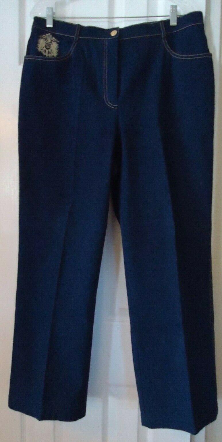 bluee Denim St John Collection gold Stitch Logo Cotton Stretch Jeans Pants-Siz 16