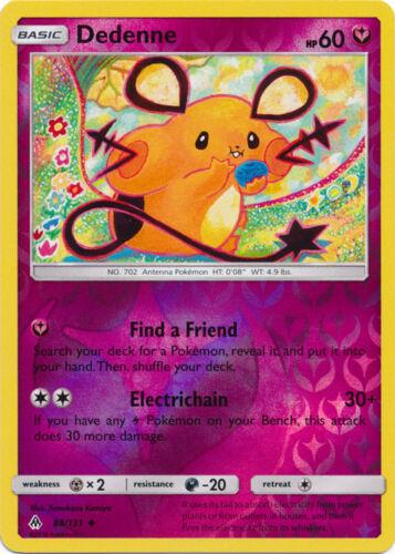 88//131 Reverse Holo Pokemon SM6 Forbidden Light M//NM E Uncommon x4 Dedenne