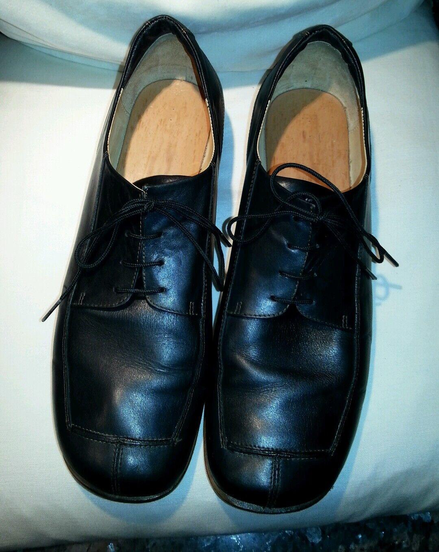 VERO-CUOLO Handgemachte Schnürschuhe mit Holzsohle Schwarz Echt  Leder Größe 40