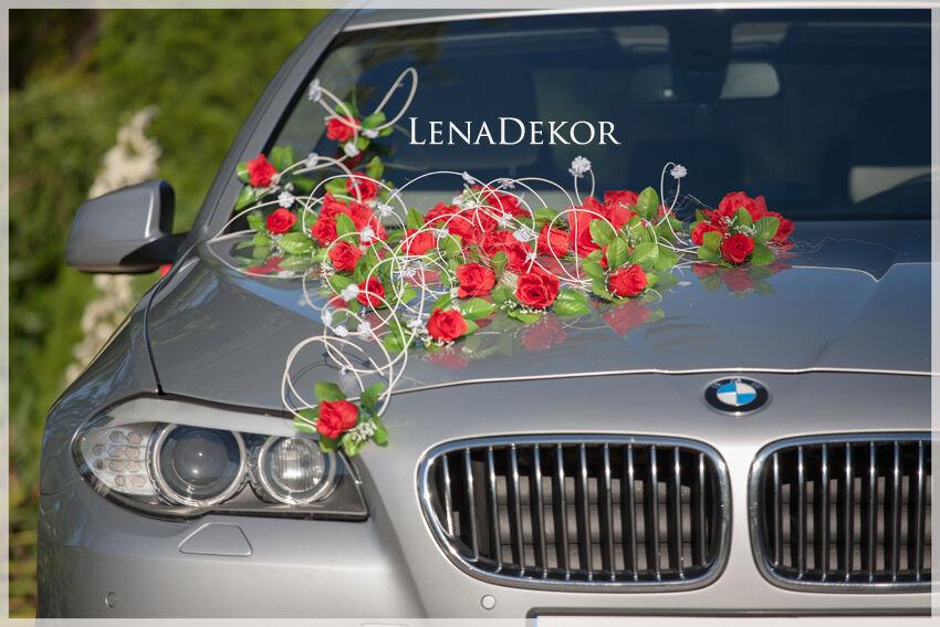 Hochzeit Autodekoration Konigsblau Mit Weissen Rosen Girlande Etsy