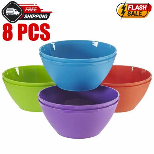 Plastic Bowls Cereal Salad Patio Picnic Outdoor Meals Reusable Table 8 Set