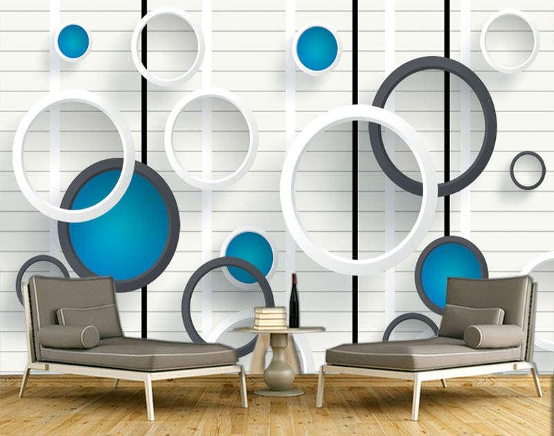 Relevat Blau Circle 3D Full Wall Mural Photo Wallpaper Printing Home Kids Decor