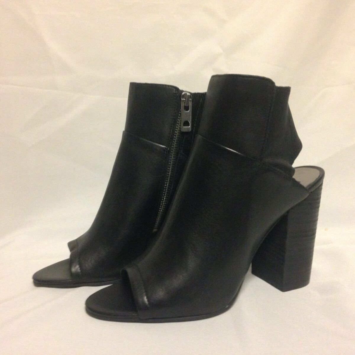 Dolce Vita Leka Open Toe Bootie Ankle Boot 10 M Black Leather  New w/Box