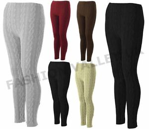 WOMENS CHUNKY CABLE KNITTED THICK LEGGINGS PLUS SIZE STRETCHY ...