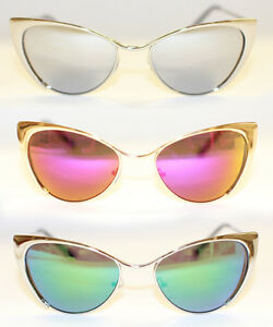 Cat-Eye-Sonnenbrille-voll-metall-gold-silber-Rockabilly-50-039-s-verspiegelt-974-RAR