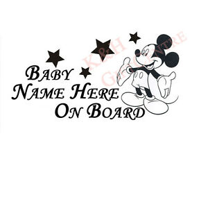 Baby-on-Board-Car-Windshiled-Vinyl-Decal-Mickey-with-Personalized-Name