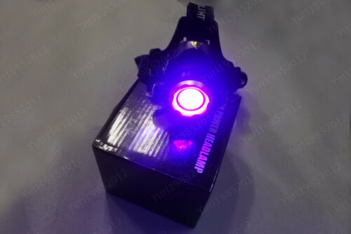 5W Rechargeable Zoom UV 1000LM LED Headlamps Ultraviolet 395nM Purple Headlight