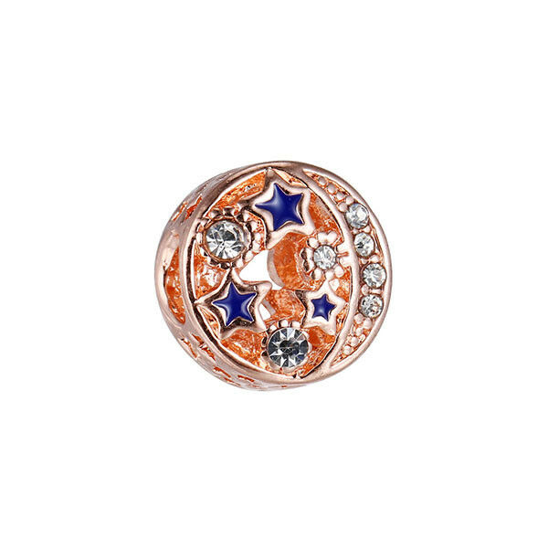 100% Wahr Rose Gold Night Sky Charm, Shimmering Midnight Blue Enamel & Clear Cz + Gift Bag