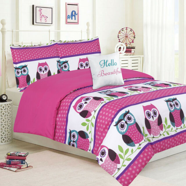 BEAUTIFUL SOFT PINK PURPLE OWL AQUA BLUE FLOWER GIRLS COMFORTER /& SHEET SET NEW