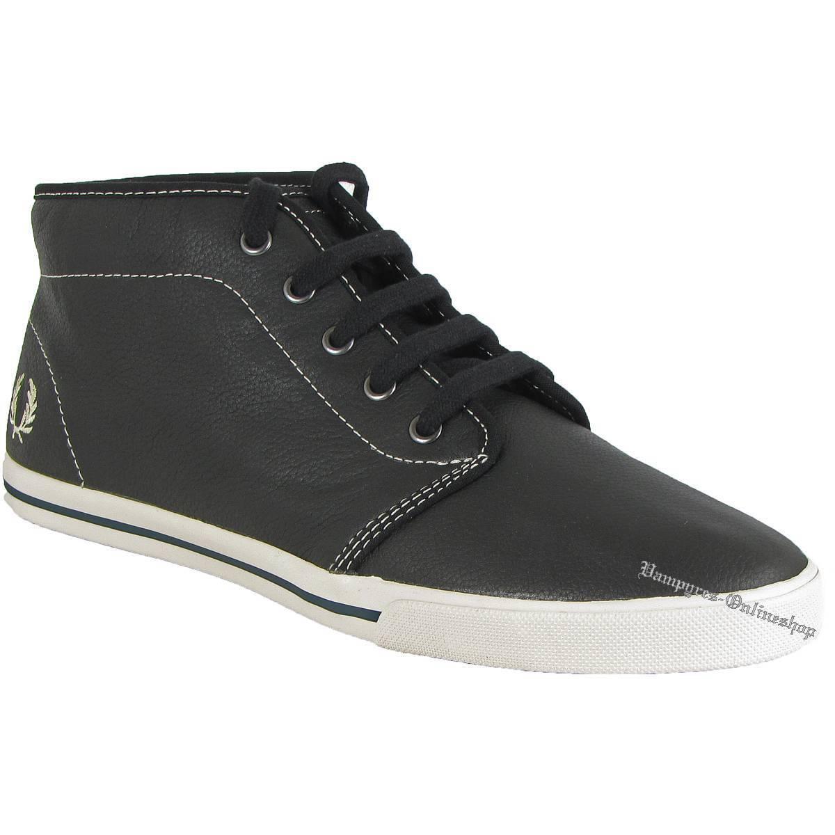 Fred Perry Fletcher Black Leather Sneaker B8209 Schwarz Leder Turnschuhe Schuhe