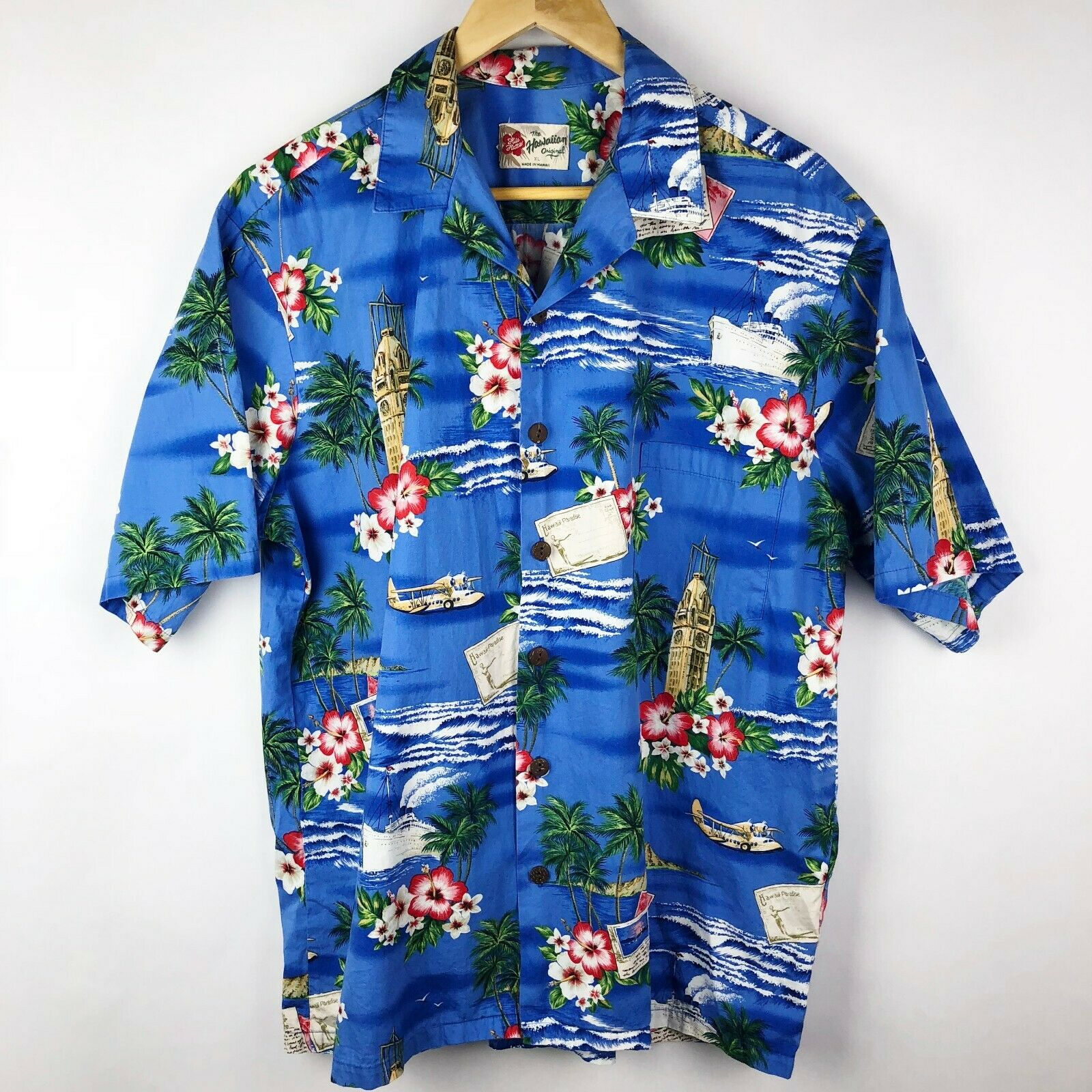 Vintage XL Hilo Hattie Hawaii Hawaiian Short Sleeve Shirt XL Ocean Ship Plane