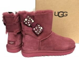 a55bec21efd Details about Ugg Australia Mini Bailey Bow Brilliant Garnet Red Shearling  Suede 1019725 Bling
