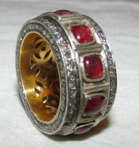Art-Deco-3-40ct-Rose-Cut-Diamond-With-Ruby-Sterling-Silver-Finger-Band