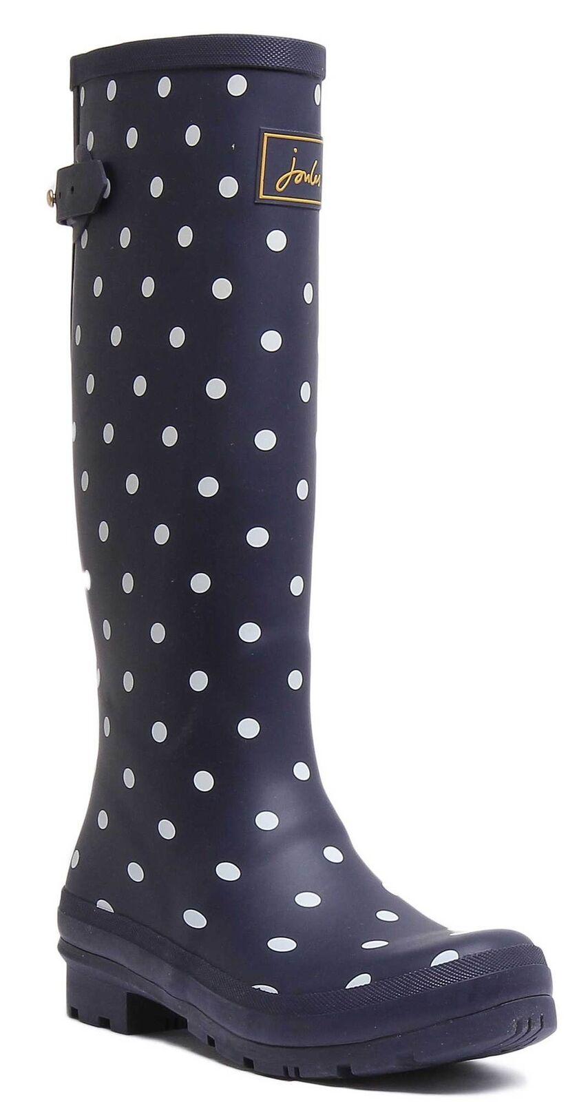 Joules Printed Wellies Adjustable Gusset damen Rubber Navy Stiefel UK Größe 3 - 8
