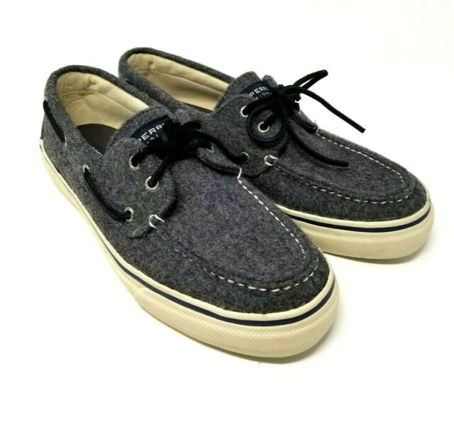 SPERRY Top-Sider Bahama 2-Eye Men's Grey Wool Boat Shoes Sz 12M EUC Deck Casual