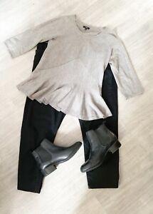 Hobbs-Peplum-ladies-Grey-Top-Wool-Blend-Size-12-3-4-Sleeves-Fashion-Career