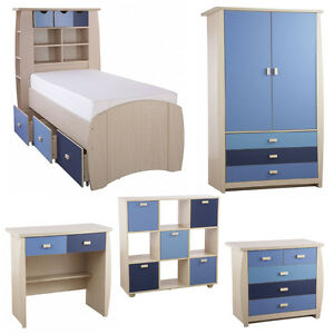 Kids Blue Oak Bedroom Furniture Sets Two Tone Boys Chest of Drawers ...