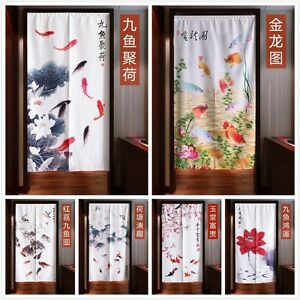 Image Is Loading Japanese Noren Door Curtain Tapestry Chinese Ink Lotus