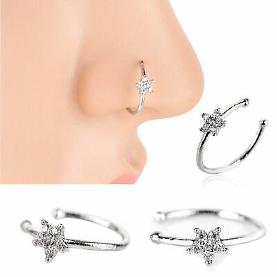 Small Thin Flower Clear Crystal Nose Ring Stud Hoop Crystal Nose Ring Ebay