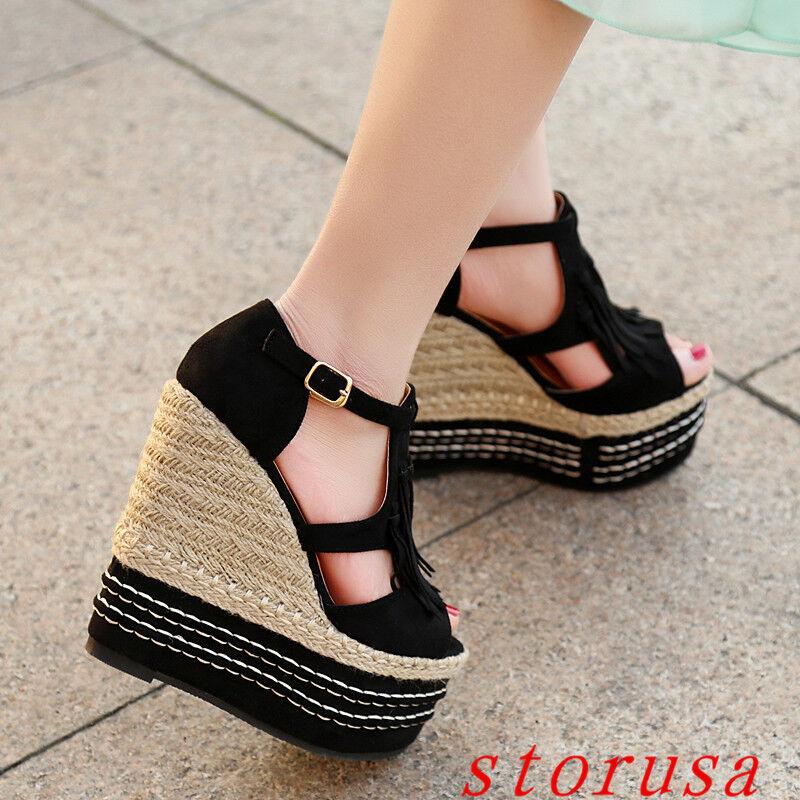Girls 15cm High Wedge Heel Sandals BOHO Tassel Women Platform shoes Peep Toe New