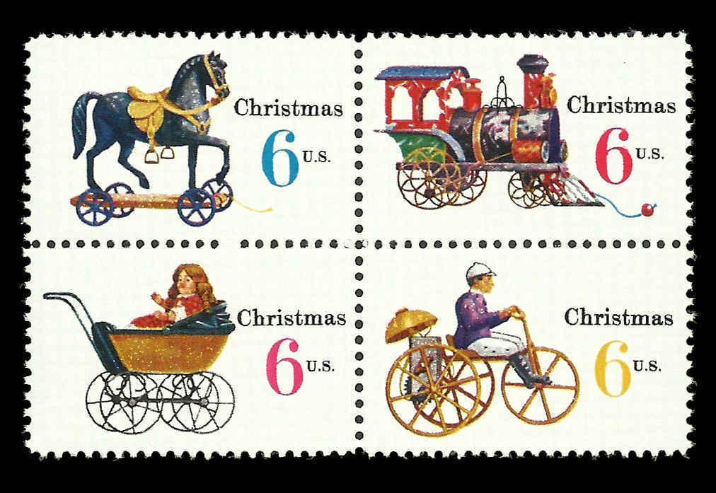 1970 6c Christmas Toys, Block of 4 Scott 1415-18 Mint F