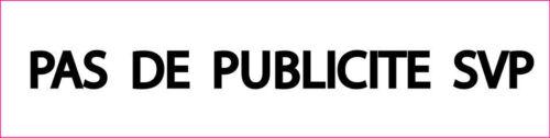 """PLAQUE BOITE AUX LETTRES /""""PAS DE PUBLICITE SVP/"""" STOP PUB EN RESINE 8X2 CM N° 2"""