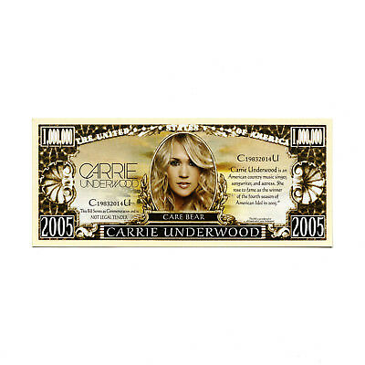 Carrie Underwood Million Dollar Bill Fake Funny Money Novelty Note FREE SLEEVE