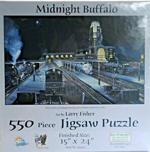 Sunsout-550-piece-Puzzle-034-Midnight-Buffalo-034-NIB