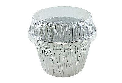 7 oz Deep Aluminum Foil Cupcake Muffin Ramekin Food Cup w/Clear Plastic Dome Lid