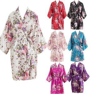 Hot Women Short floral Robe Dressing Gown Bridal Wedding Bride Bridesmaid Kimono