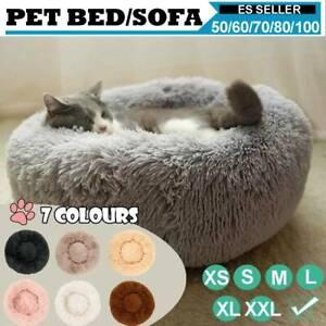 Mascota-Perro-Gato-Calmante-Cama-Calentar-Suave-Felpa-Redondo-Linda-Nido-Comodo