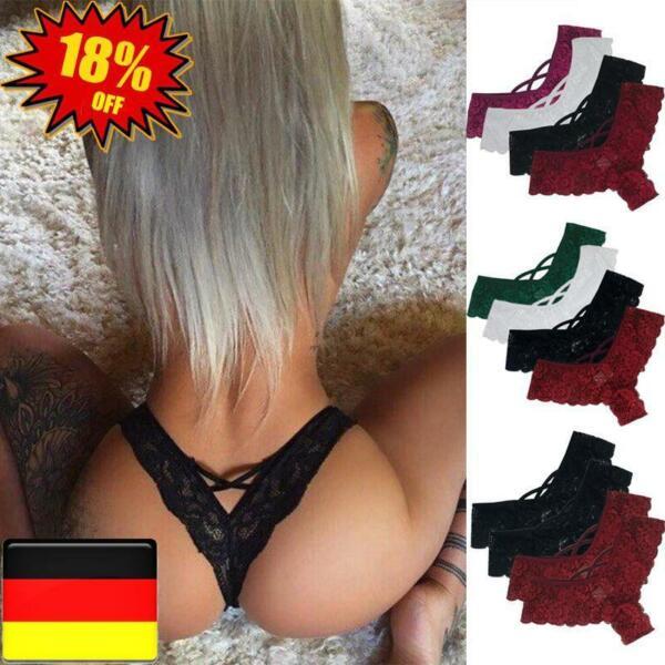 4er Sexy Damen Spitze G-String Unterwäsche Slip Dessous Tanga Unterhosen Panty