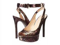 Jessica Simpson Careen Slingback Bronze Silver Peep Metallic 9 Platform Pump