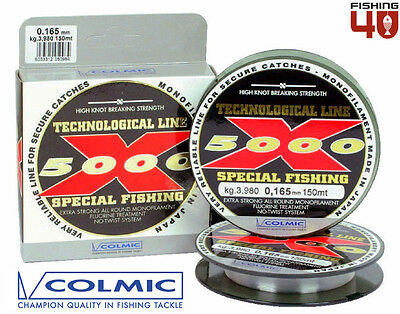 Colmic Technological Line X5000- Monofilament 150m Spool- All Sizes