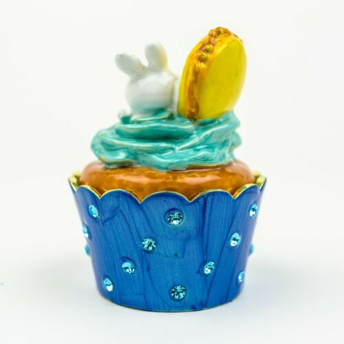Rabbit cake Trinket box hand made by Keren Kopal /& Austrian crystals Faberge