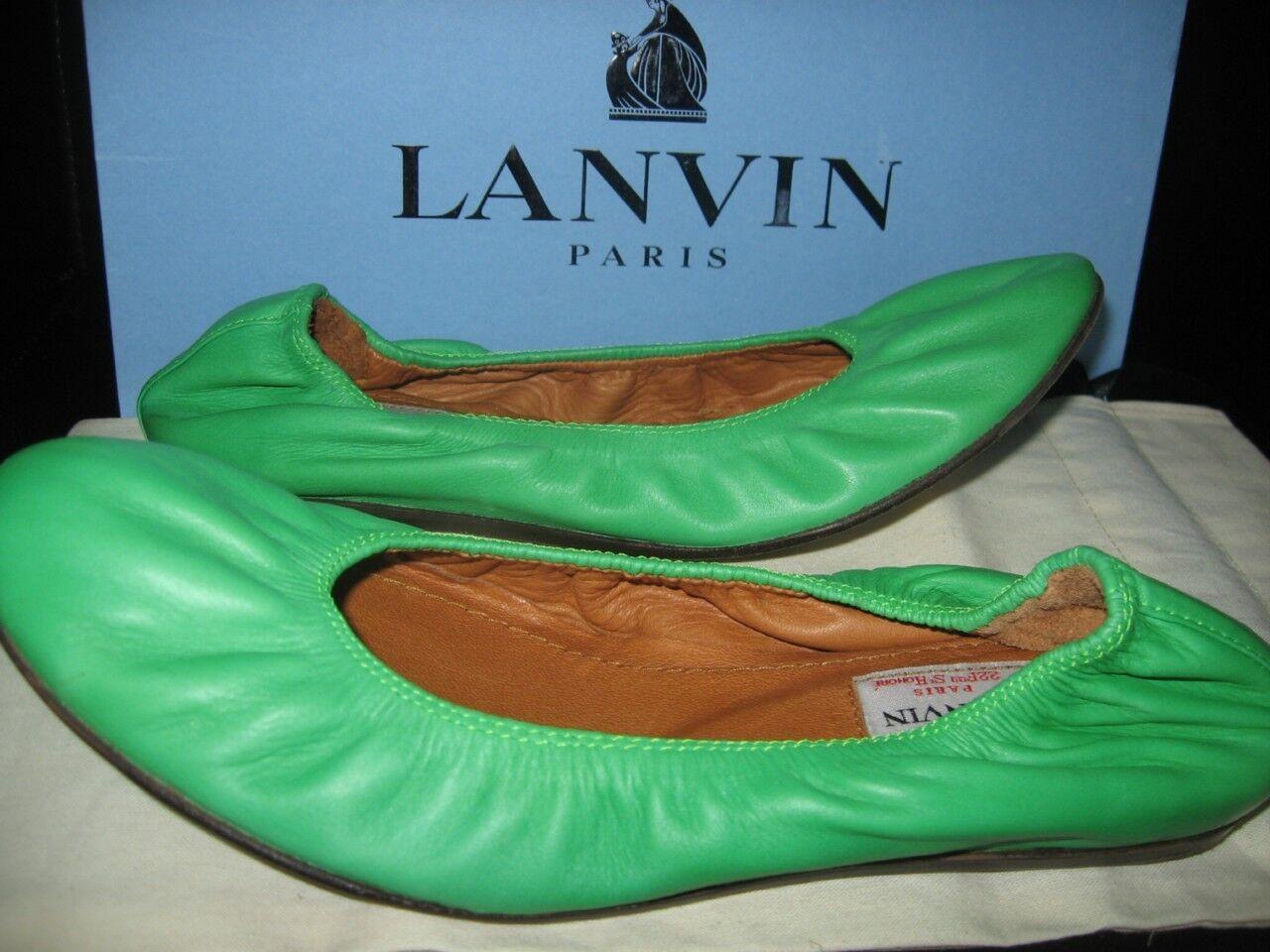 Zapatos De De De Cuero Lanvin verde Bailarinas Zapatos Bajos Talla 36  480  tienda de venta