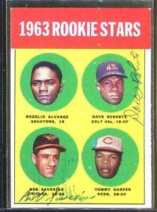 Dave Roberts Bob Saverine Dual Signed 1963 Topps Rookie Stars Card #158 Auto *1