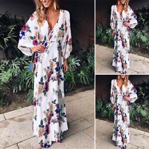 Women-Floral-Print-Batwing-Long-Maxi-Dress-Plus-Size-V-Neck-Loose-Sundress-Robe