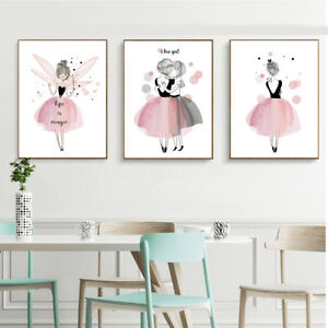 Details About Kawaii Girl Nordic Style Cartoon Canvas Poster Wall Art  Prints Kids Room Decor