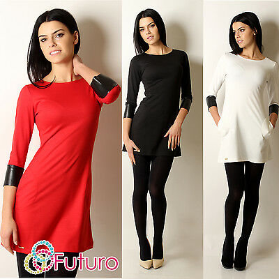Elegant Women's Mini Dress Crew Neck 3/4 Sleeve Tunic Sizes 8 - 14 FA255